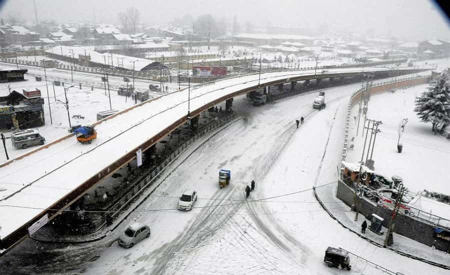 A view of Srinagar city with snow-covered street