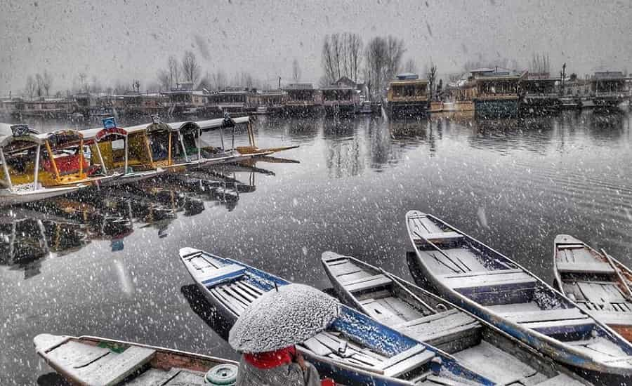 Dal Lake During Snowfall
