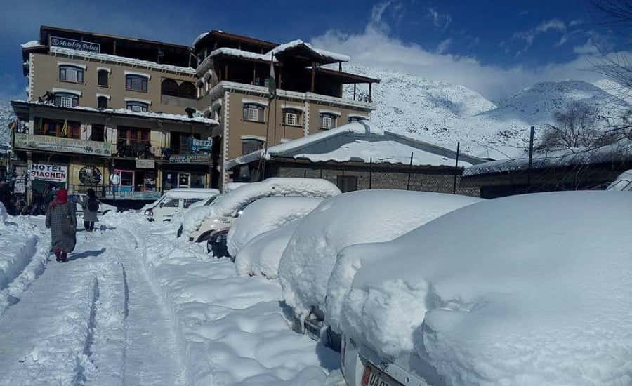 Kargil town after a heavy snowfall